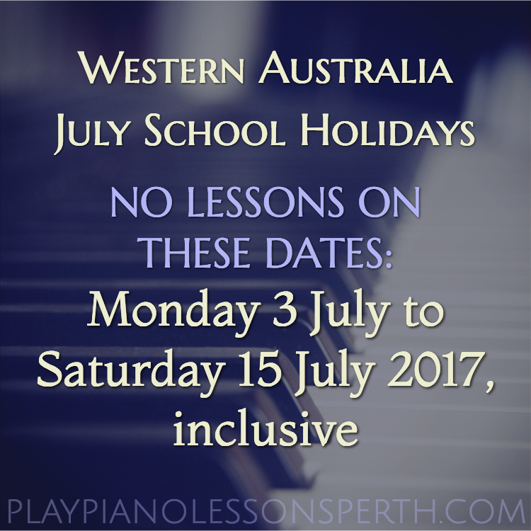 Play Piano Lessons Perth July School Holidays 2017