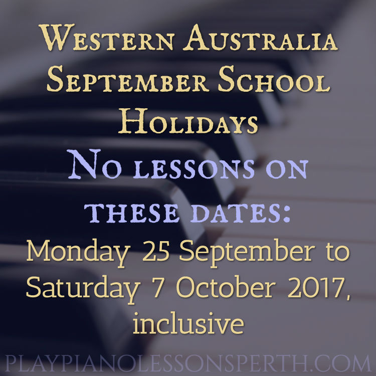 Play Piano Lessons Perth September School Holidays 2017