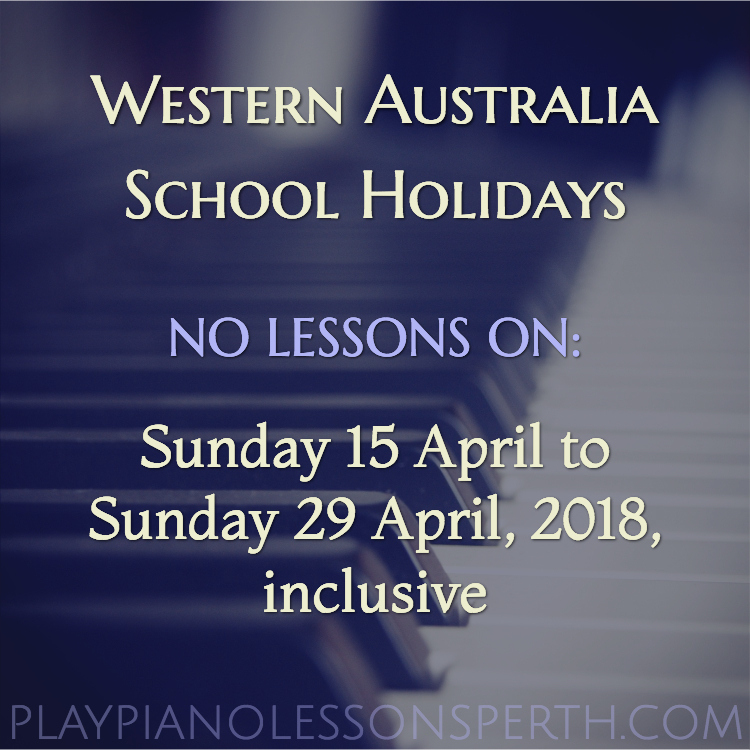 Play Piano Lessons Perth April School Holidays 2018