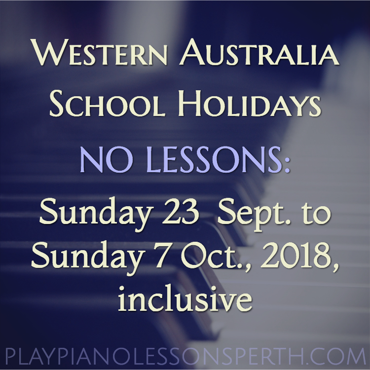Play Piano Lessons Perth Sept/Oct School Holidays 2018