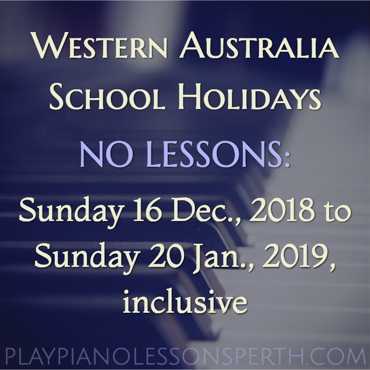 Play Piano Lessons Perth Dec/Jan School Holidays 2018/19