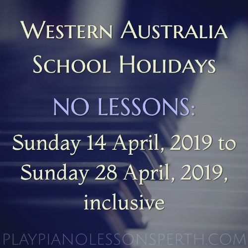Play Piano Lessons Perth - April School Holidays 2019