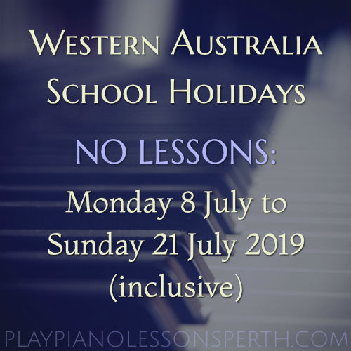 Play Piano Lessons Perth - July School Holidays 2019