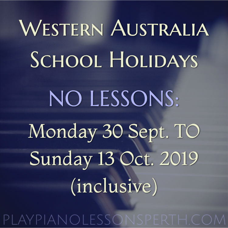 Play Piano Lessons Perth - October School Holidays 2019