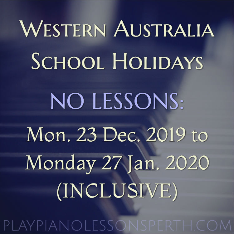 Play Piano Lessons Perth - December 2019 to January 2020 School Holidays