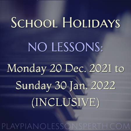 Play Piano Lessons Perth - Western Australia School Holidays Dec 2021 to Jan 2022